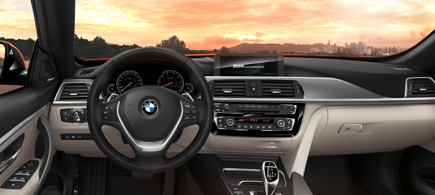 BMW 4-Series Convertible grey and black car interior: steering wheel