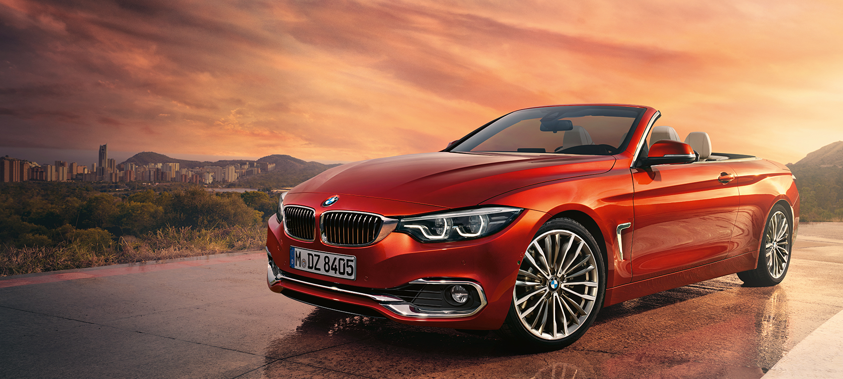 BMW 4-Series Convertible red: frontside view