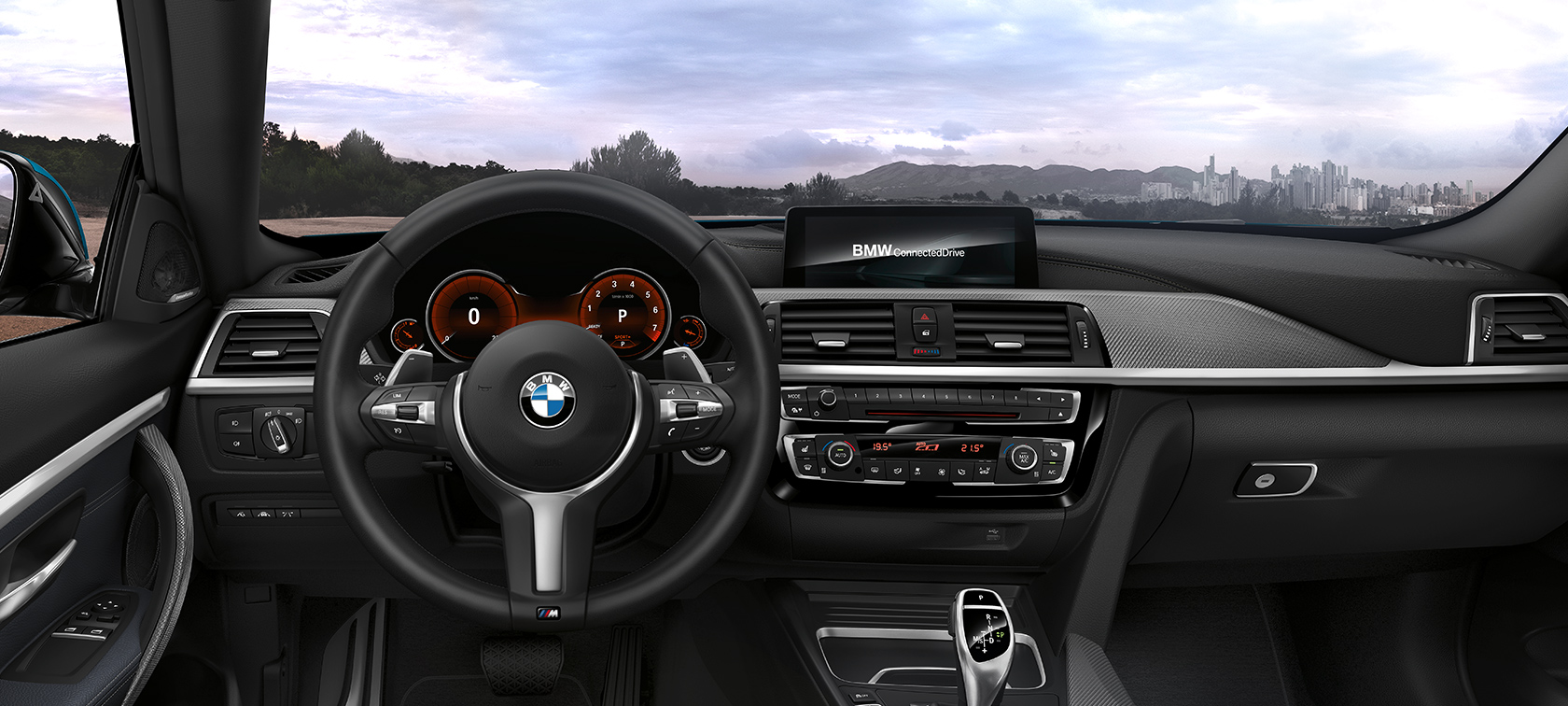 BMW 4-Series Coupe black inside: far away city view