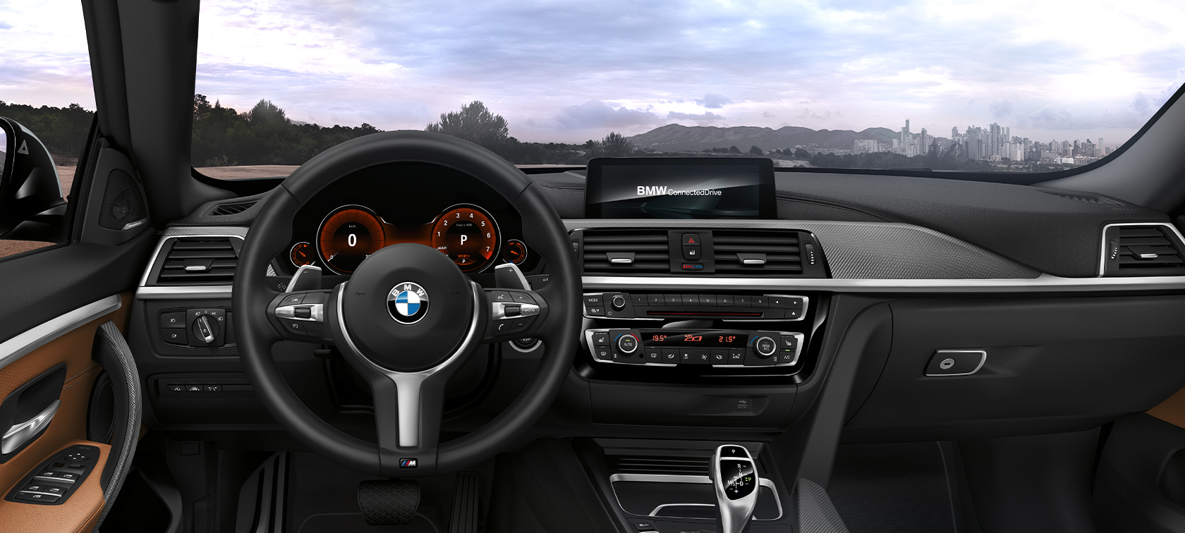 BMW 4-Series Gran Coupe black and brown inside view