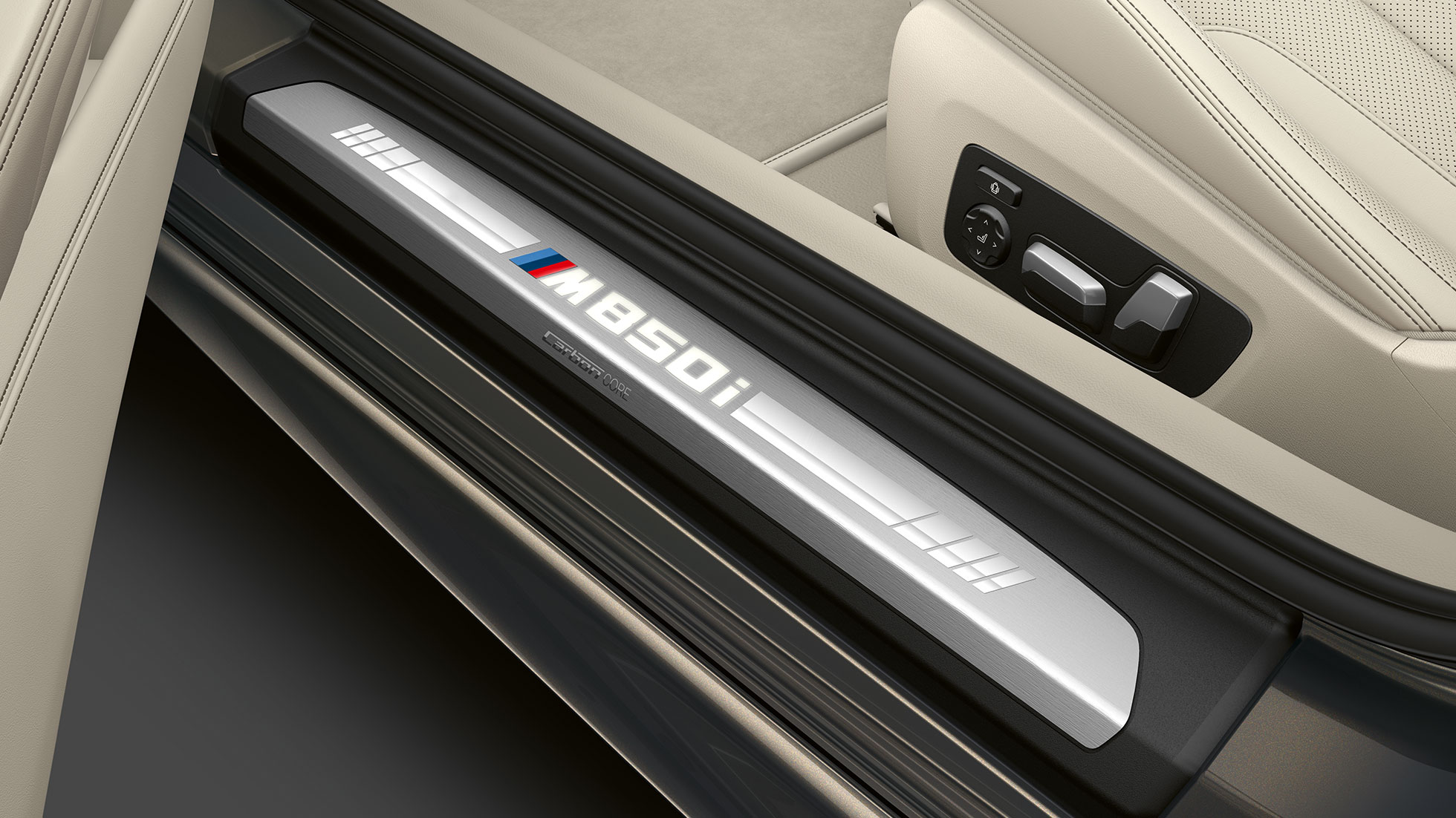BMW M850i xDrive, Dravit Grey metallic, entry door sill.
