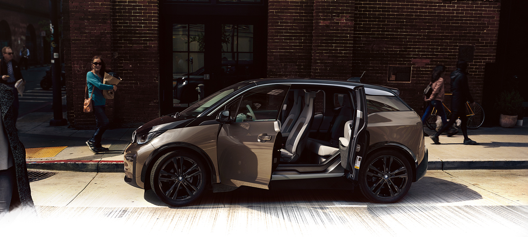 BMW i-Series i3 modern brown city car with unique door openings