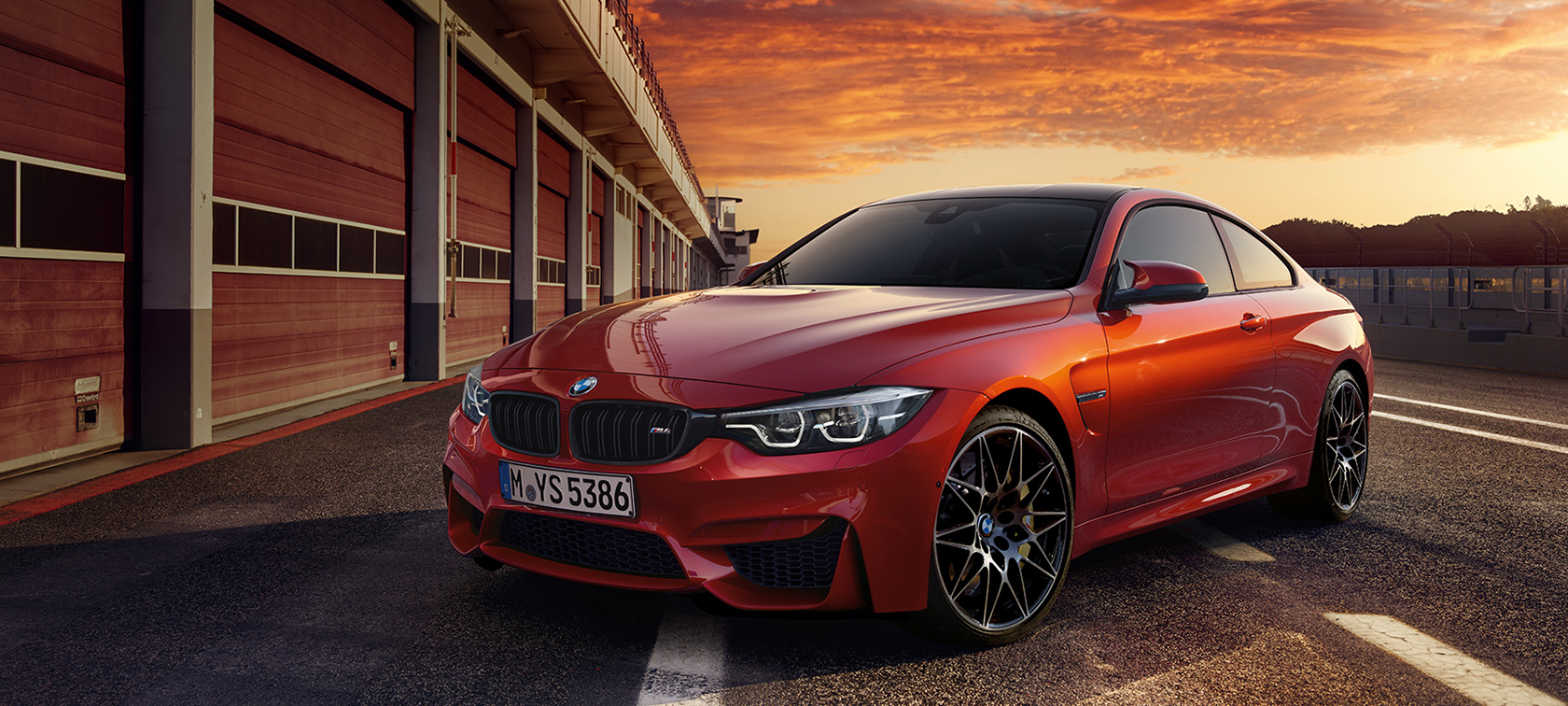 BMW M-Series M4 Coupe in red: road stop