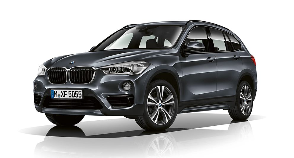 BMW X-Series X1 in black: white background image