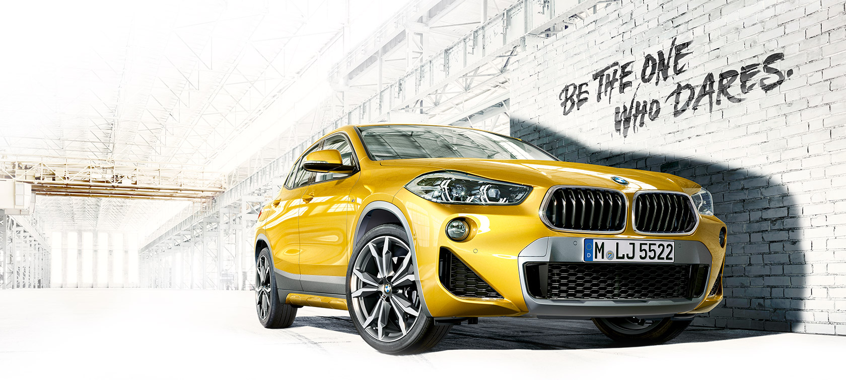 BMW X-Series X2 metallic yellow: bottom front view