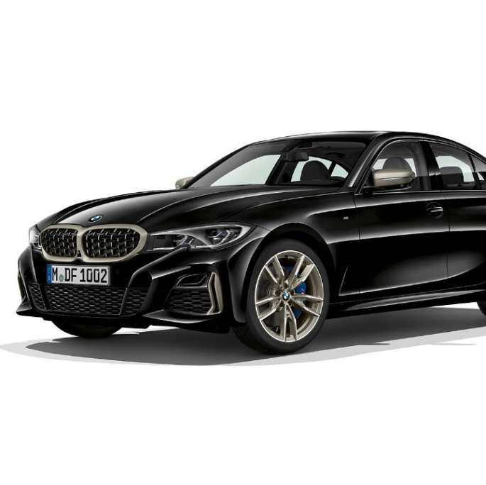 Side still shot of BMW 3 Series Sedan as M340i xDrive.