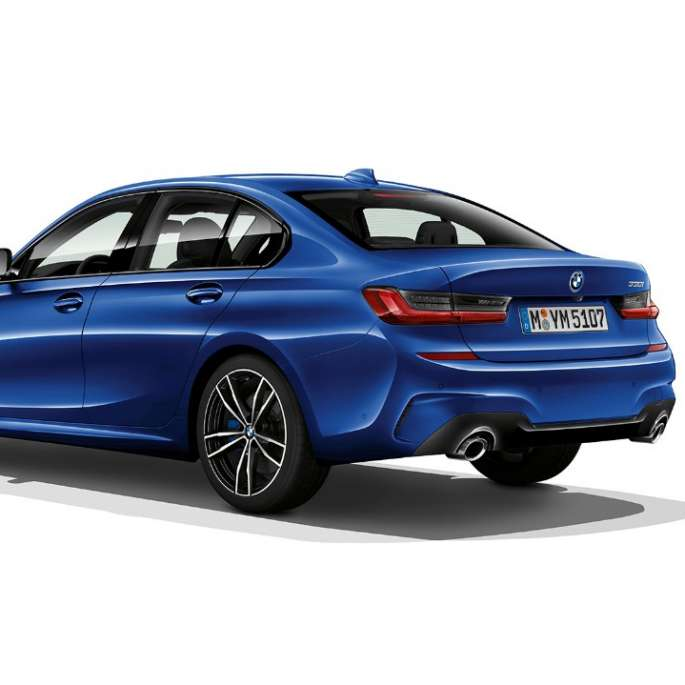 Three-quarter rear shot of the BMW 3 Series Sedan with Model M Sport features.